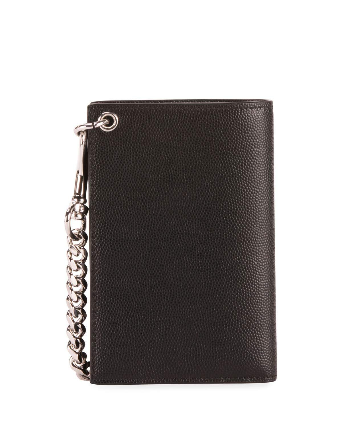 Saint Laurent North South Leather Chain Wallet