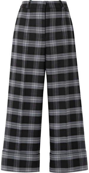 Cropped Checked Wool-blend Straight-leg Pants - Dark gray