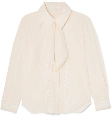 Pussy-bow Lace-trimmed Silk Crepe De Chine Blouse - Ivory