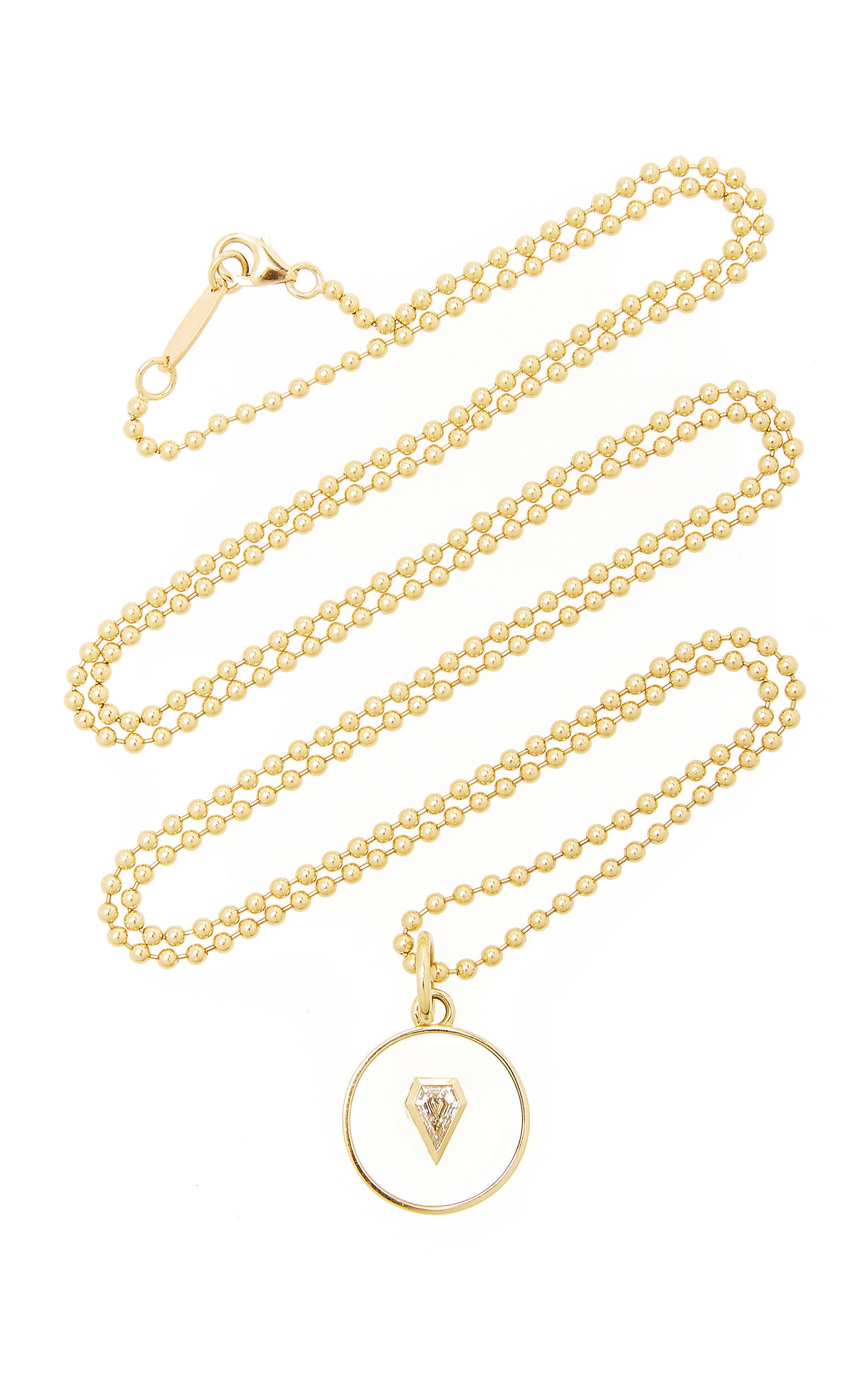 Jemma Wynne 18K Yellow Gold Necklace with Rock Crystal and Diamond Shield