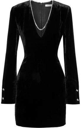 Chain-trimmed Velvet Mini Dress