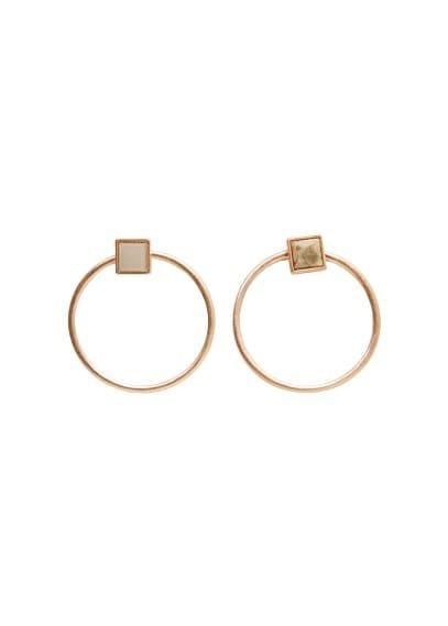 MANGO Semiprecious stone hoop earrings