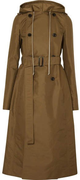 Hooded Shell Trench Coat - Army green