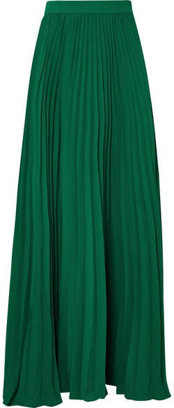 Adriana Degreas - Le Fleur Pleated Crepe Maxi Skirt - Jade