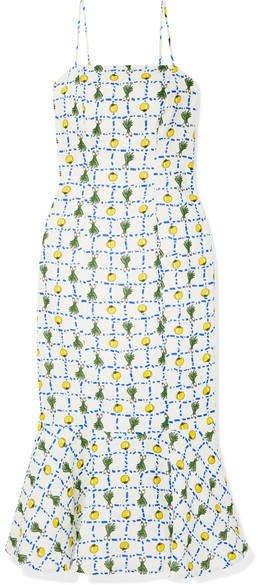 Lychee Printed Linen Midi Dress - Ecru