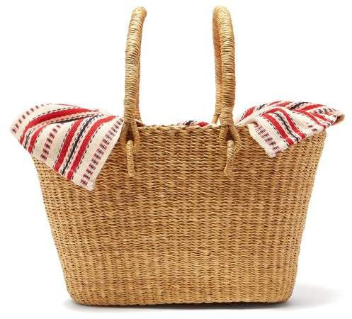 Claudia Mini Straw Basket Bag - Womens - Red Multi