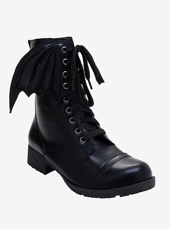 Black Bat Wing Combat Boots