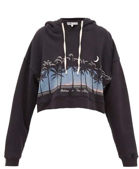X The Attico Scenery Print Hooded Sweatshirt - Womens - Black Multi