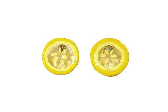 Funky Vintage Lemon Slice Earrings Yellow Lucite Lemon | Etsy