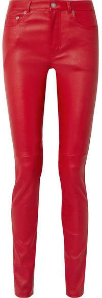 Leather Skinny Pants - Red
