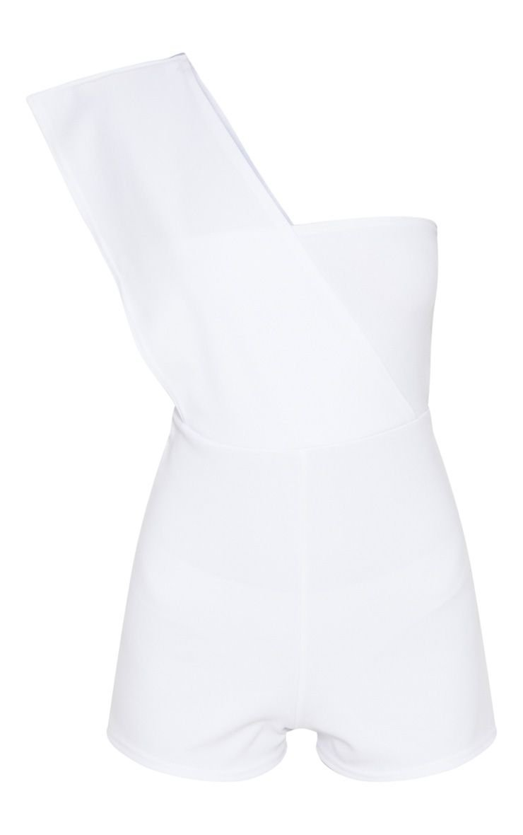 White Drape One Shoulder Romper   PrettyLittleThing USA