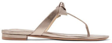 Clarita Bow-embellished Metallic Leather Sandals - Platinum