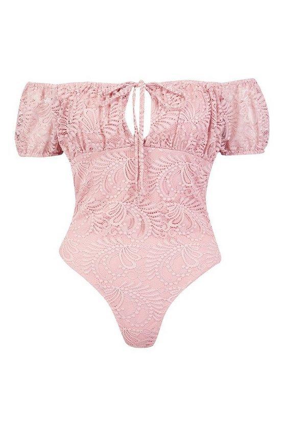 Lace Off The Shoulder Bodysuit | Boohoo