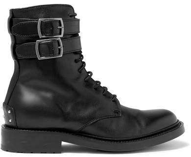 Army Lace-up Leather Ankle Boots - Black