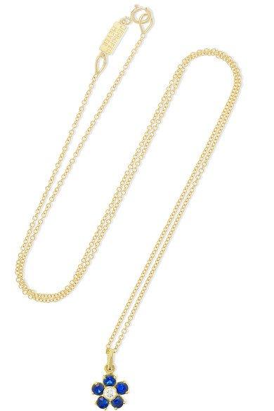 Jennifer Meyer | Large Flower 18-karat gold, sapphire and diamond necklace | NET-A-PORTER.COM