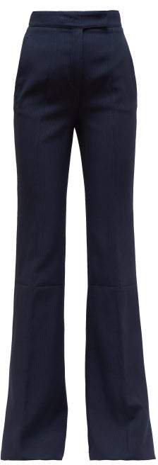 Leda Striped Stretch Jersey Flared Trousers - Womens - Navy