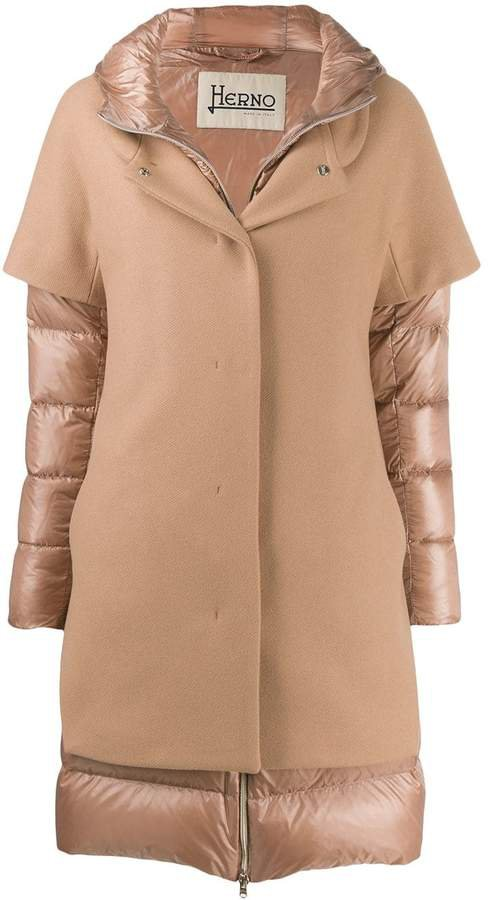 contrast panel padded coat