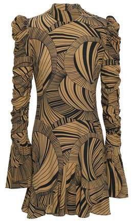 72f3a5135bbd the outnet.com De La Vali Ruched Printed Silk-crepe Mini Dress ...