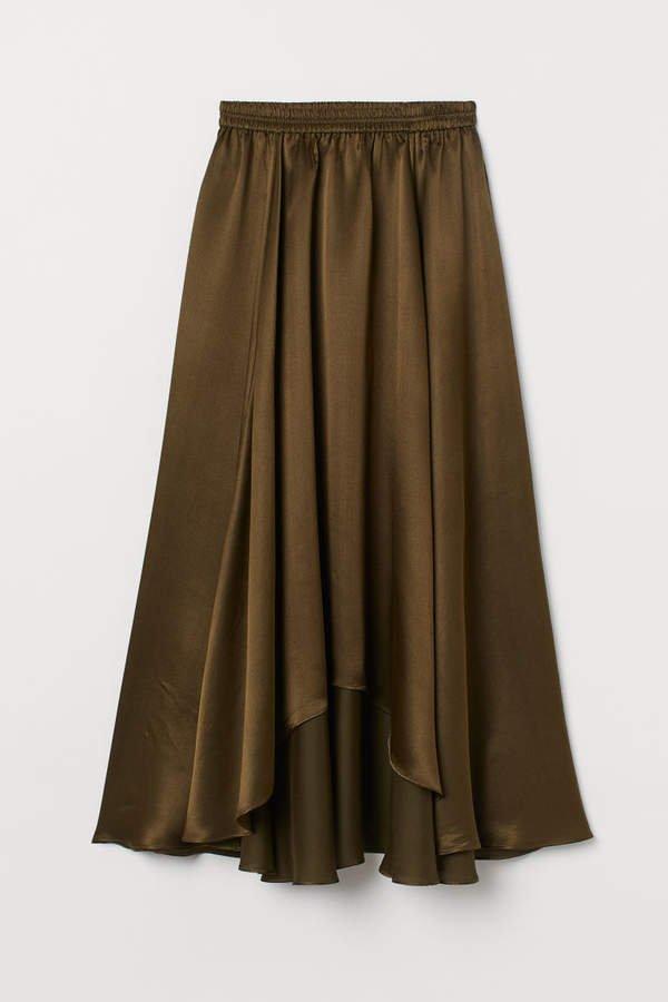 Asymmetric Silk-blend Skirt - Green