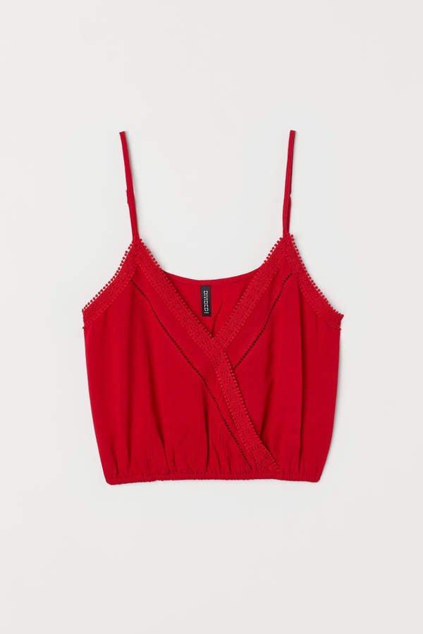 V-neck Camisole Top with Lace - Red