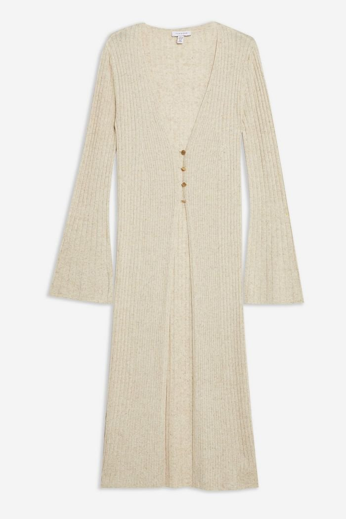 Knitted Open Longline Cardigan with Linen | Topshop neutral