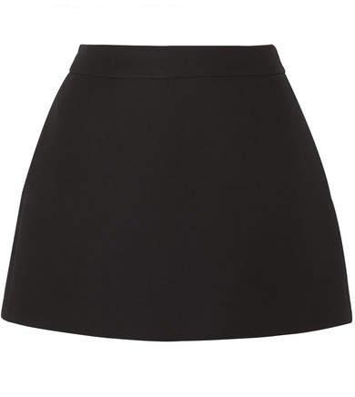 Wool And Silk-blend Mini Skirt - Black