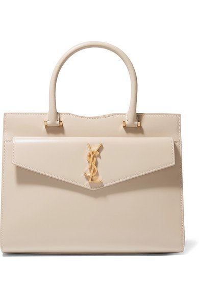 SAINT LAURENT | Cabas Uptown glossed-leather tote | NET-A-PORTER.COM