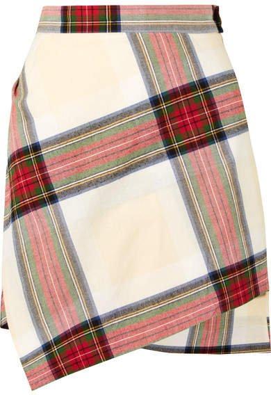 Asymmetric Tartan Cotton Mini Skirt - Red