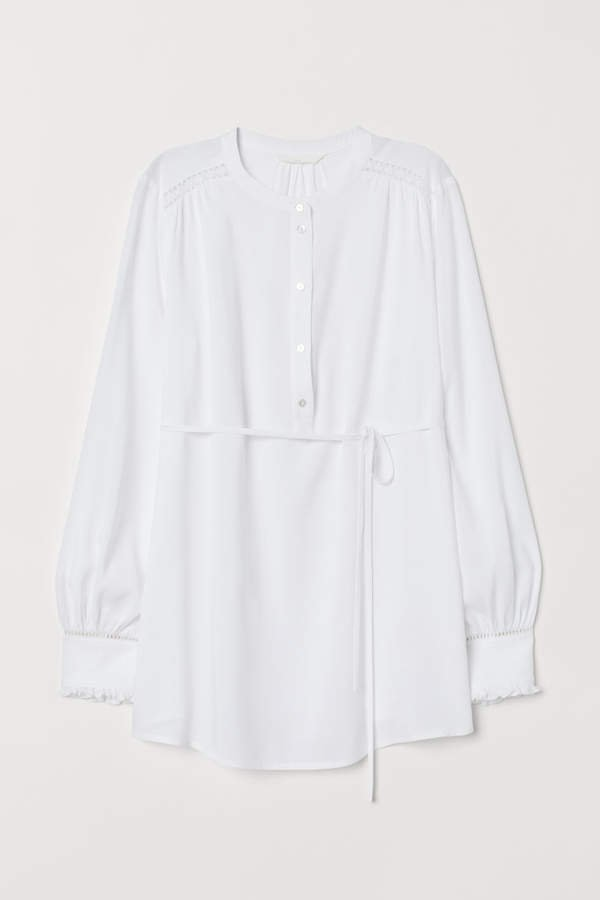 MAMA Blouse with Tie Belt - White