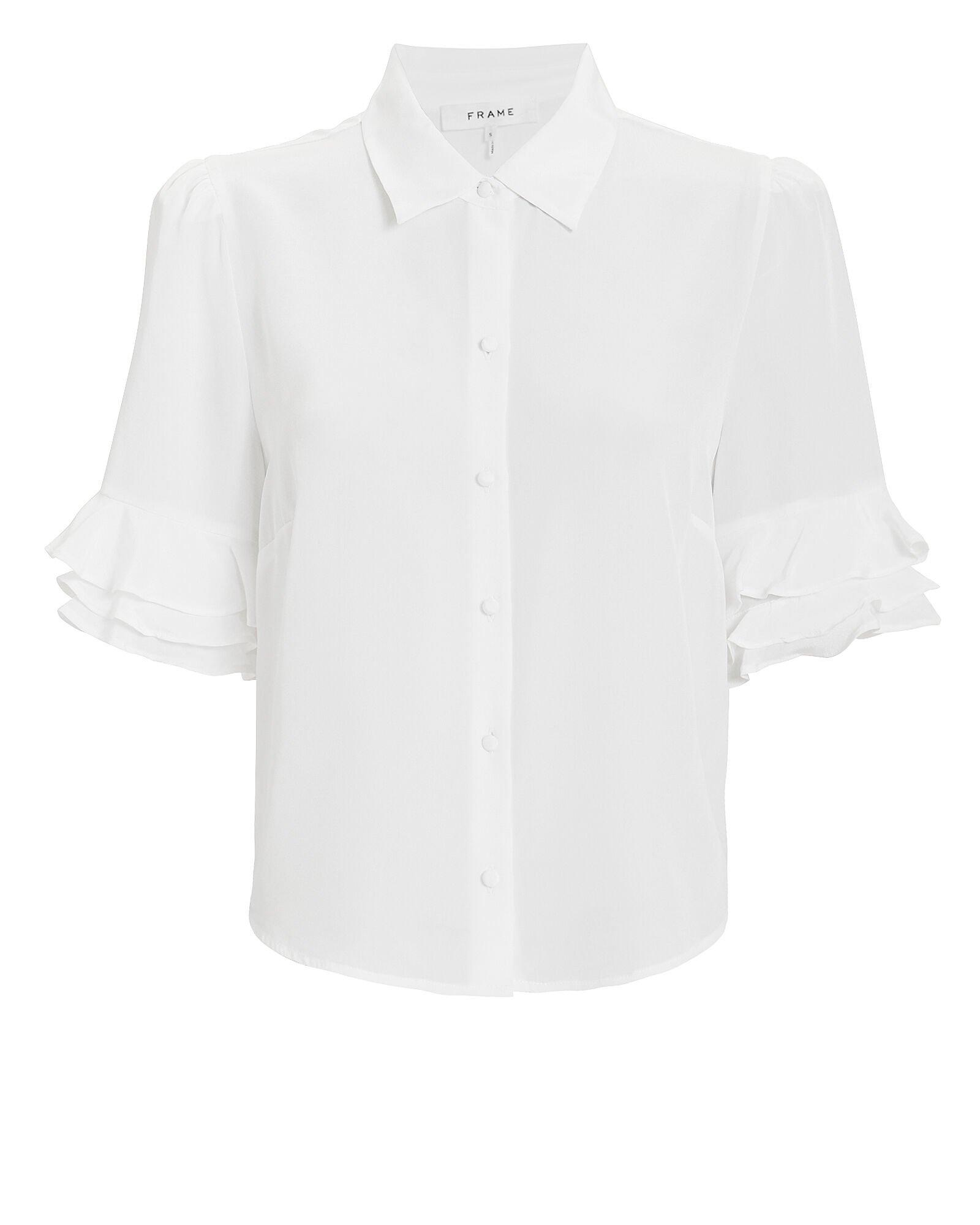 FRAME | Ruffled Sleeve Silk Top | INTERMIX®