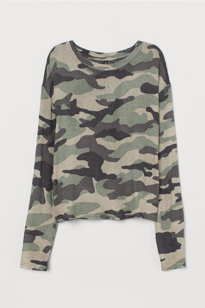 Fine-knit jumper - Khaki green/Patterned - | H&M GB