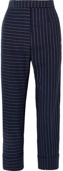 Pinstriped Cotton Slim-leg Pants - Navy