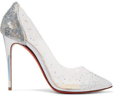 Degrastrass 100 Embellished Pvc And Leather Pumps - Silver