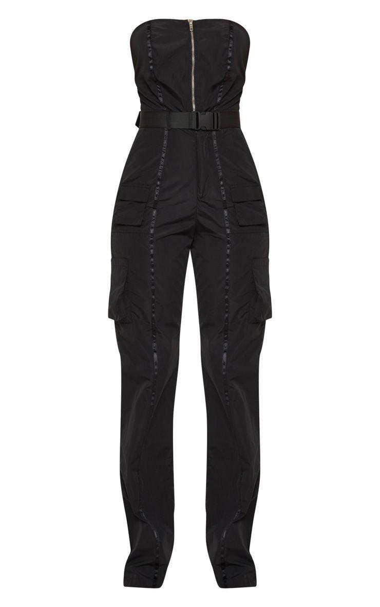 Black Shell Suit Bandeau Jumpsuit | PrettyLittleThing USA