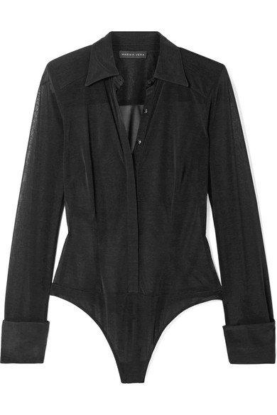 Marika Vera | Demi Shirt stretch-tulle thong bodysuit | NET-A-PORTER.COM