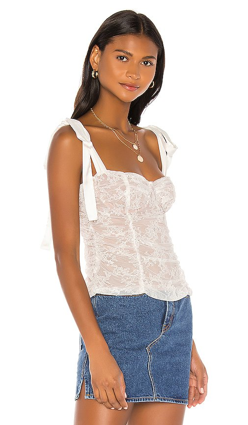 For Love & Lemons Dolly Bustier Top in White Lace   REVOLVE