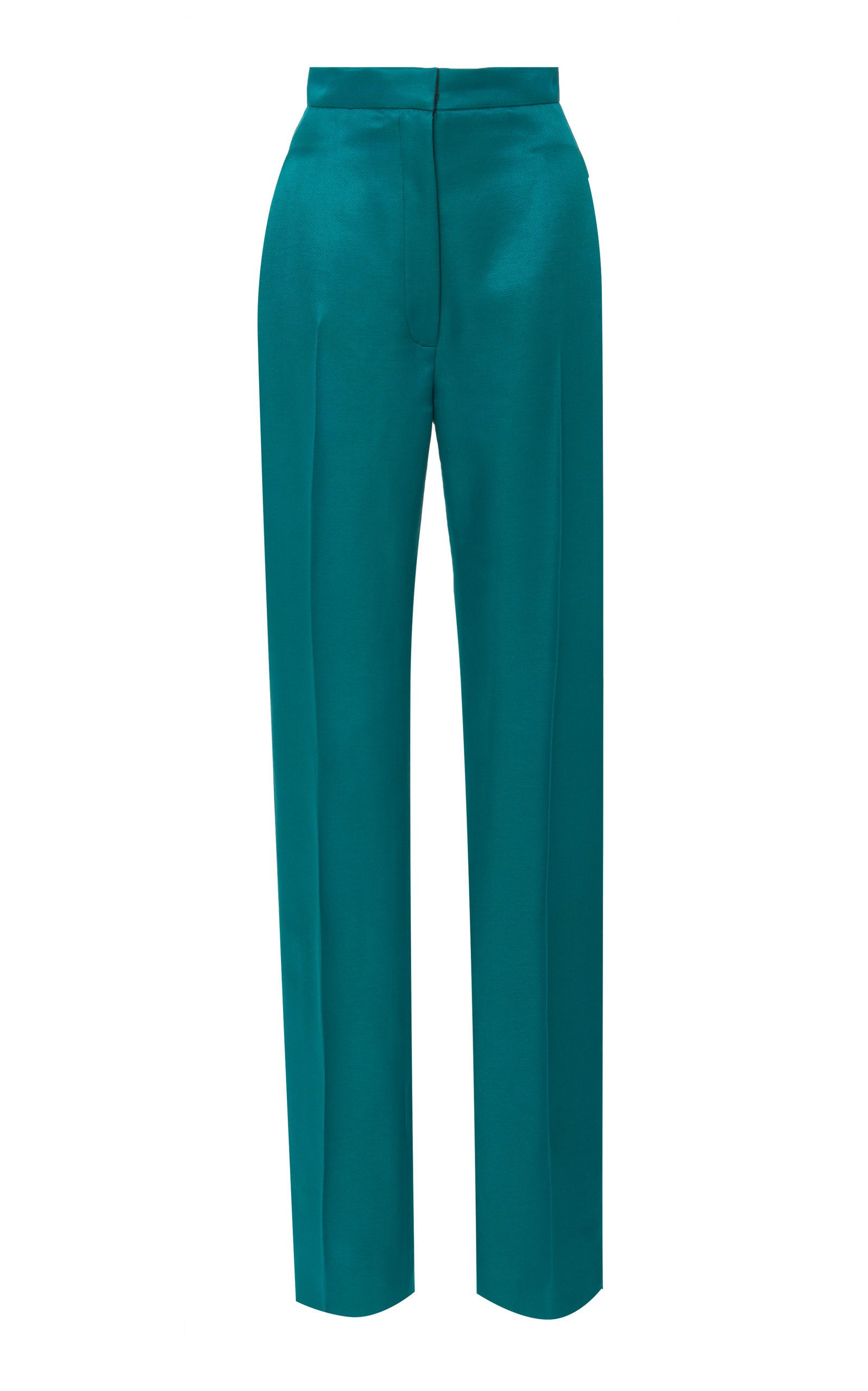 Carolina Herrera High Waisted Straight Leg Satin Suit Pants Size: 0