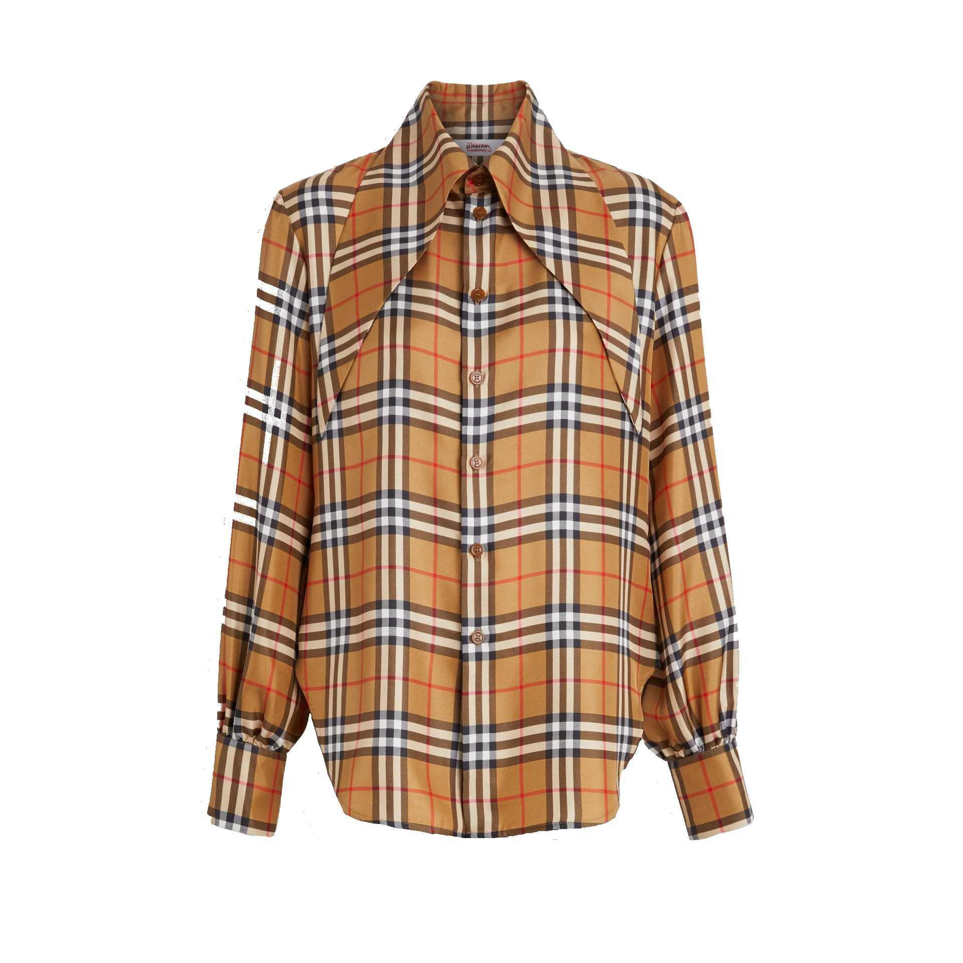 burberry oversized collar silk shirt