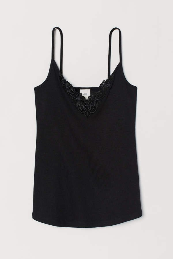 Camisole Top with Lace - Black