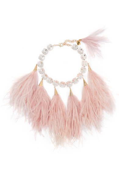 Rosantica | Revolution feather, crystal and gold-tone necklace | NET-A-PORTER.COM