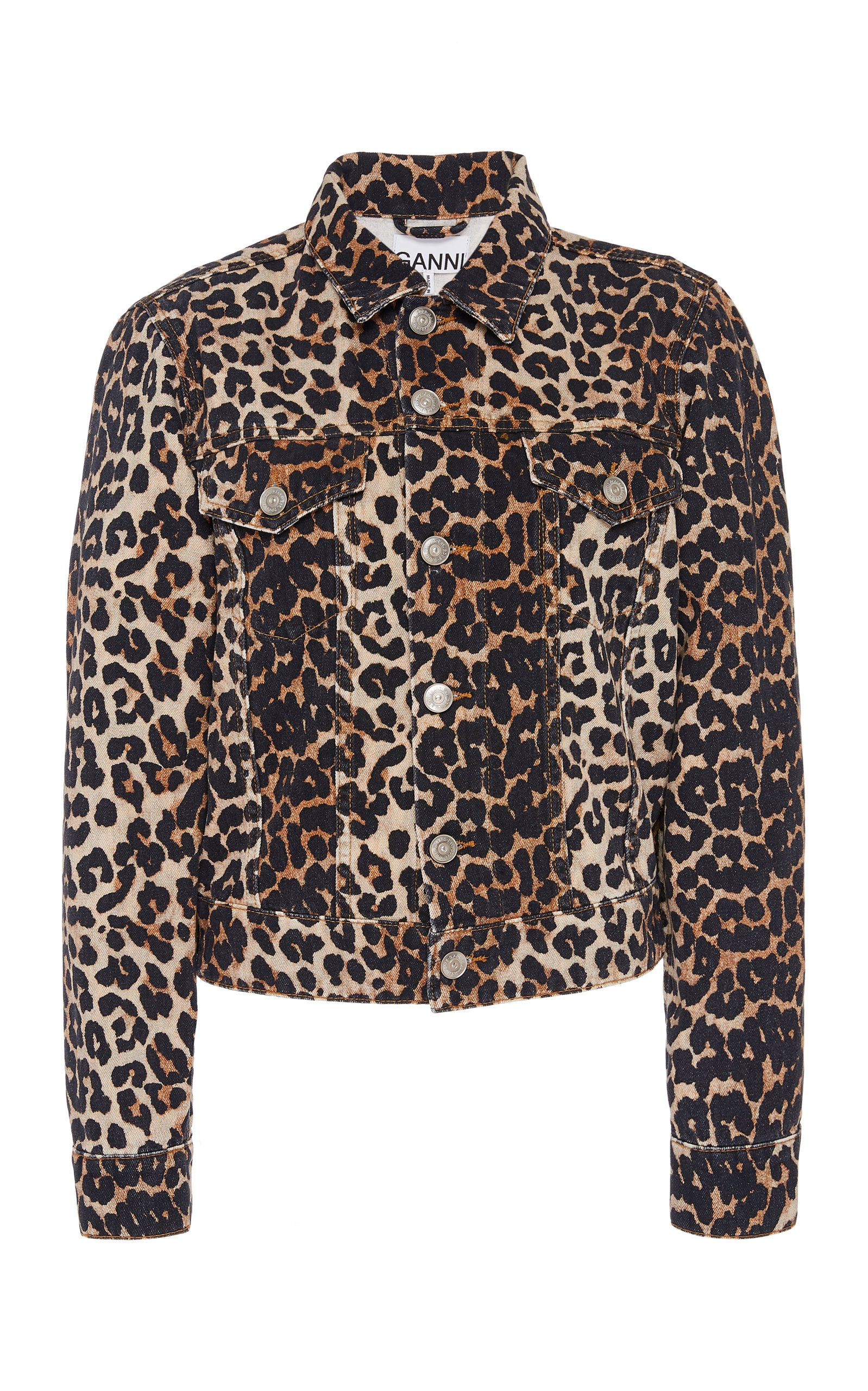 Ganni Leopard Denim Jacket