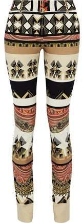 Printed Stretch-crepe Slim-leg Pants
