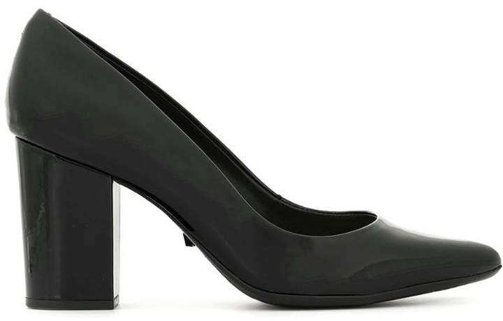 patent chunky heel pumps