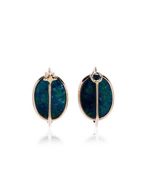 Bibi Van Der Velden 18K rose gold, opal and tsavorite planet earrings £1,880 - Shop Online - Fast Global Shipping, Price