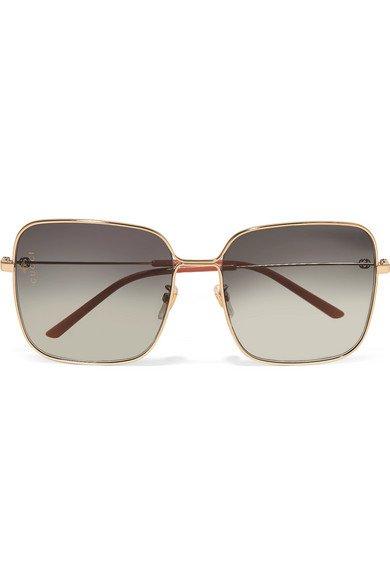 Gucci | Oversized square-frame gold-tone sunglasses | NET-A-PORTER.COM