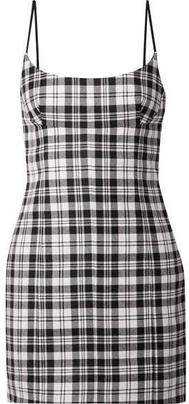 Tartan Wool Mini Dress - Black