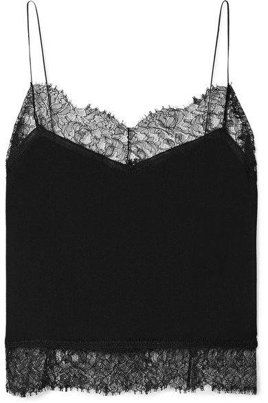 Saint Laurent | Lace-trimmed silk-georgette camisole | NET-A-PORTER.COM