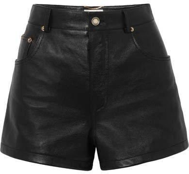 Embellished Leather Shorts - Black