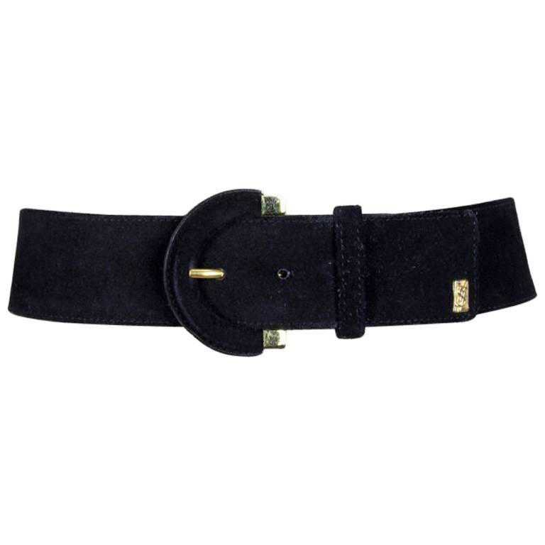 Yves Saint Laurent Black Suede Belt With Gold Tone Accents and YSL Logo, 1990s For Sale at 1stdibs