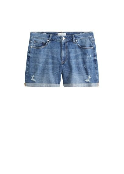 Violeta BY MANGO Ripped-detail denim short